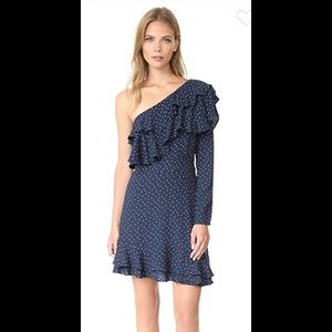 WAYF Laci One Shoulder Ruffled Polka Dot Dress